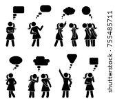 stick figure dialog speech... | Shutterstock .eps vector #755485711