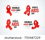 hiv awareness logo set. red... | Shutterstock .eps vector #755487229