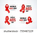 hiv awareness logo set. red... | Shutterstock .eps vector #755487229