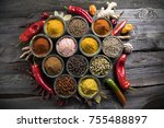 variety of spices and herbs on... | Shutterstock . vector #755488897