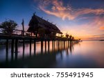 amazing sunrise view with... | Shutterstock . vector #755491945