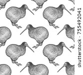 kiwi bird. seamless pattern... | Shutterstock .eps vector #755492041