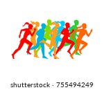 man   woman running. set of... | Shutterstock .eps vector #755494249