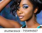 close up facial cosmetic studio ... | Shutterstock . vector #755494507