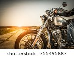 russia july 7  2013  biker on... | Shutterstock . vector #755495887
