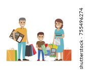 family making holiday purchases.... | Shutterstock . vector #755496274