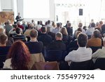 speaker giving a talk in... | Shutterstock . vector #755497924