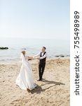 stunning wedding couple has fun ... | Shutterstock . vector #755498989
