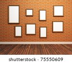 Empty photo frames on brick wall. 3d Illustration. - stock photo
