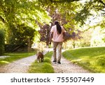 Stock photo rear view of senior man walking with pet bulldog in countryside 755507449