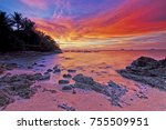 beautiful colours of sunset... | Shutterstock . vector #755509951