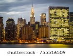 manhattan skyline from long... | Shutterstock . vector #755516509