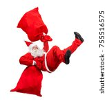 funny santa claus falls with a... | Shutterstock . vector #755516575