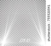 vector spotlights. scene. light ... | Shutterstock .eps vector #755520541
