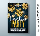 vector merry christmas party... | Shutterstock .eps vector #755520961