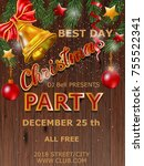 christmas party design poster.... | Shutterstock .eps vector #755522341