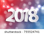 new year 2018 concept with... | Shutterstock . vector #755524741