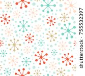 stylized snowflakes and snow.... | Shutterstock .eps vector #755532397