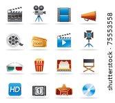 movie entertainment icons set