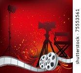 vector background movie theme... | Shutterstock .eps vector #75553561