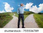 man at fork in the road concept ... | Shutterstock . vector #755536789