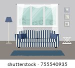 living room with a blue striped ... | Shutterstock .eps vector #755540935