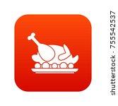roasted turkey icon digital red ... | Shutterstock .eps vector #755542537