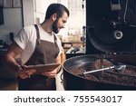 side view happy unshaven worker ... | Shutterstock . vector #755543017
