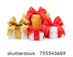 set of gift box isolated on... | Shutterstock . vector #755543689