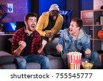 goal. delightful friends are... | Shutterstock . vector #755545777