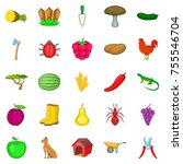 ranch icons set. cartoon set of ... | Shutterstock .eps vector #755546704