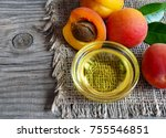 apricot oil from apricot... | Shutterstock . vector #755546851