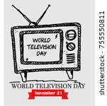 world television day | Shutterstock .eps vector #755550811