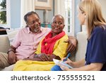 female support worker visits... | Shutterstock . vector #755555521