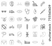 thermometer icons set. outline... | Shutterstock .eps vector #755560609