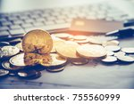 bitcoin and its business class... | Shutterstock . vector #755560999