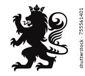 heraldry lion king with crown... | Shutterstock .eps vector #755561401