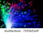 abstract close up fiber optics...   Shutterstock . vector #755565169