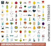 100 health training icons set