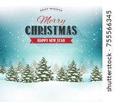 merry christmas landscape...   Shutterstock .eps vector #755566345