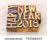 happy new year 2018 greeting... | Shutterstock . vector #755566519