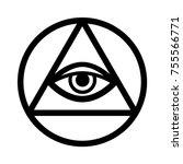 all seeing eye of god   the eye ... | Shutterstock .eps vector #755566771