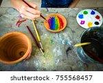 flowerpot watercolor paint...   Shutterstock . vector #755568457