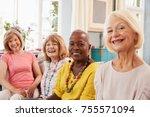 portrait of senior female... | Shutterstock . vector #755571094