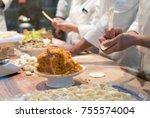 chef is making dumplings   Shutterstock . vector #755574004