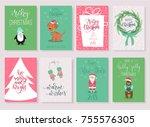 set of 8 christmas greeting...   Shutterstock .eps vector #755576305