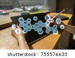 virtual screen interface.... | Shutterstock . vector #755576635