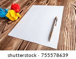 blank sheet of paper and pen on ... | Shutterstock . vector #755578639