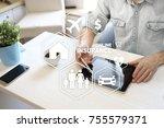 online insurance on virtual... | Shutterstock . vector #755579371