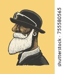 man with a mustache and beard... | Shutterstock .eps vector #755580565